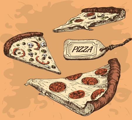 onion slice: Pizza. Set of color vector illustrations . Illustration