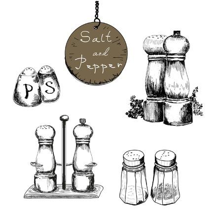 tuzlu: Tuz ve karabiber. Vektör elle çizilmiş resimler Set
