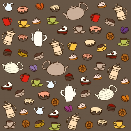 Tea and sweets. Vector seamless pattern Vector