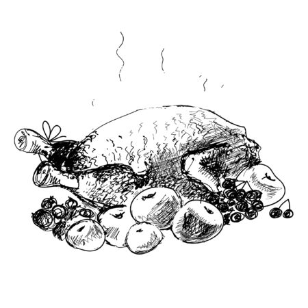 roast chicken: Chicken with apples. Hand drawn illustration