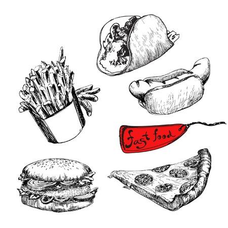 Fast food. Set of vector illustration Иллюстрация