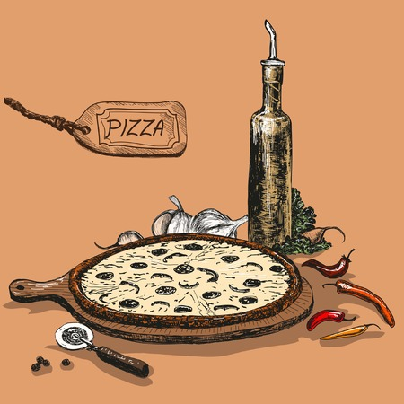 pizza ingredients: Pizza with bottle of garlic oil. Hand drawn illustration. Illustration