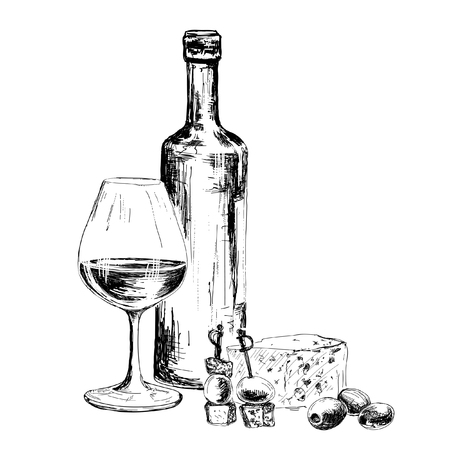 Fles wijn en blauwe kaas. Hand getrokken illustratie Stockfoto - 25273276