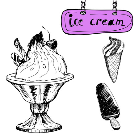 Ice cream. Hand drawn illustration Vector