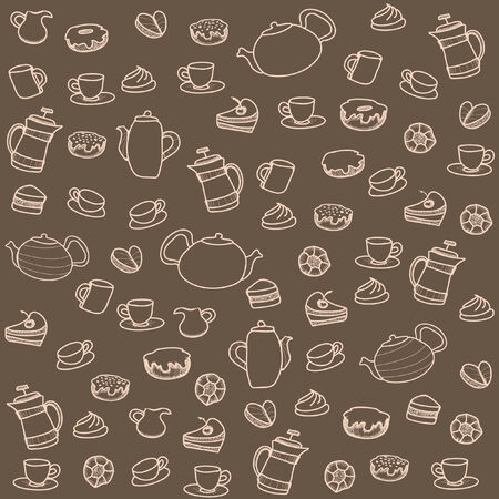 sugar spoon: Tea and sweets. Vector seamless pattern