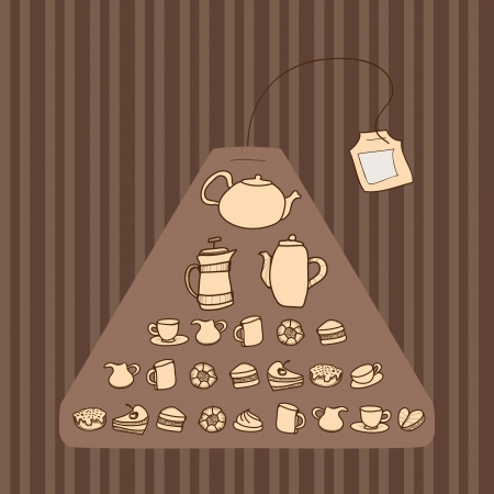 Teabag. Seamless pattern. Vector
