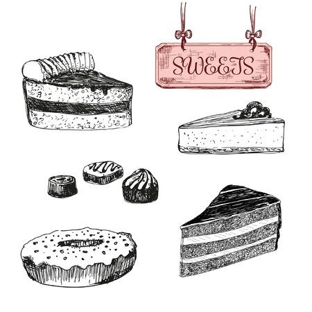 Sweets. Dessert. Set of hand drawn illustrations Vettoriali