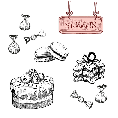 chocolate mint: Sweets. Dessert. Set of hand drawn illustrations Illustration
