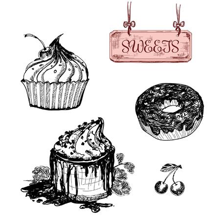 Sweets. Dessert. Set of hand drawn illustrations Vector