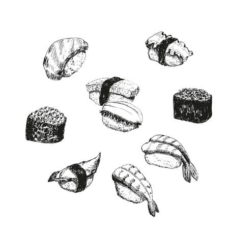 Sushi. Hand drawn illustrations.