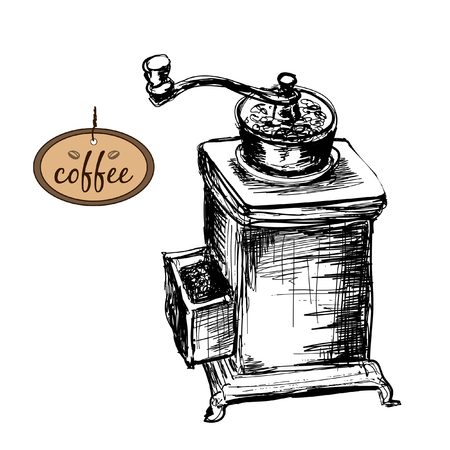 coffe beans: Coffee mill. Hand drawn illustration.
