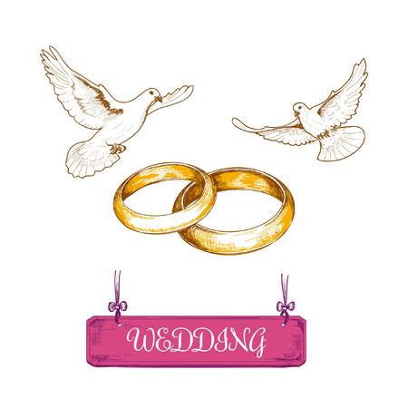 anillo de boda: Anillos de boda y palomas. Dibujado a mano ilustración