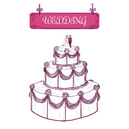 wedding reception decoration: Wedding cake. Hand drawn illustration