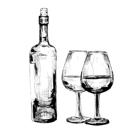 bottle of wine: Bottle of wine and two glasses.