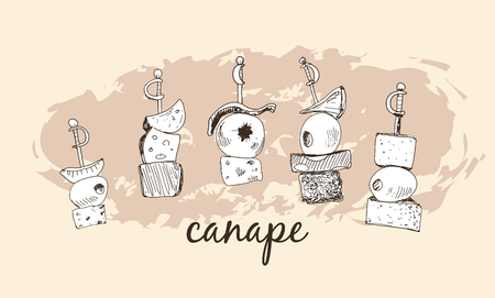 canapes: Canape. Set of hand drawn illustrations.