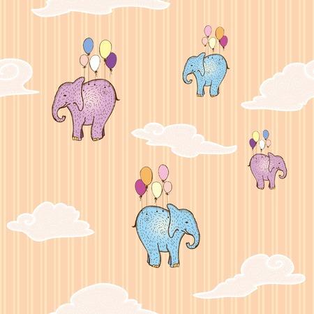 sociable: Flying elephant. Seamless pattern