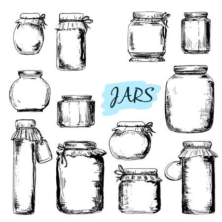 mermelada: Tarros Conjunto de ilustraciones dibujadas a mano Vectores