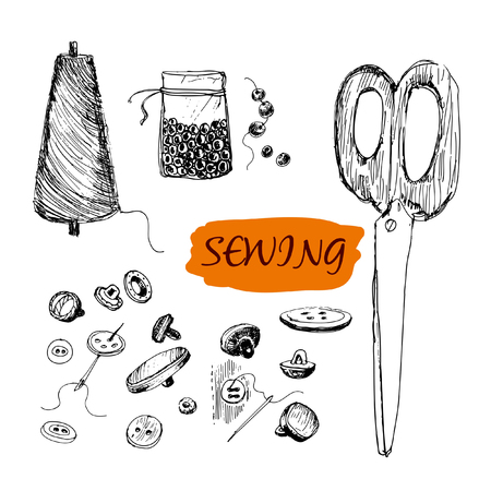 needle and thread: Sewing set  Set of hand drawn illustrations