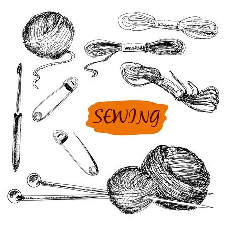 Nähset Set von Hand gezeichnete Illustrationen Vektorgrafik