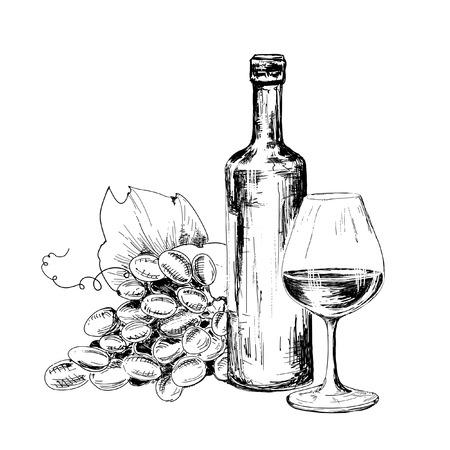 Botella de vino, vidrio y uvas Dibujado a mano illustratuin