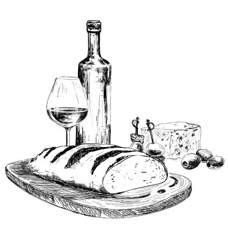 pane e vino: Vino, pane e formaggio blu Illustrazione disegnata a mano