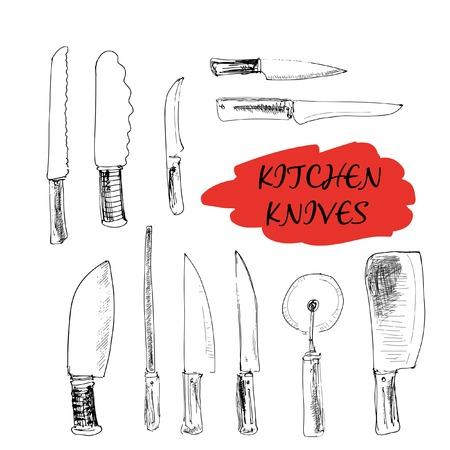 Kitchen knives. Set of hand drawn illustrations