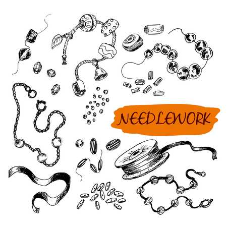 bead embroidery: Set of sewing. Set of hand drawn illustrations