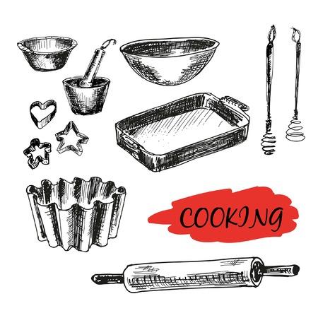 Set of kitchen utensils. All baking. Hand drawn illustrations Stock Illustratie