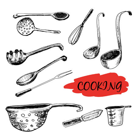 measuring spoon: Set of kitchen utensils. Hand drawn illustrations Illustration