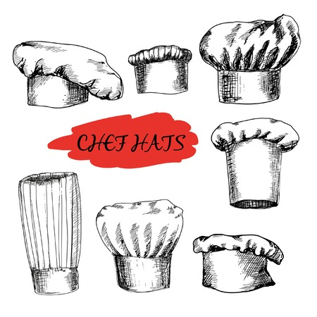 Chef hats. Set of hand drawn illustrations Vector