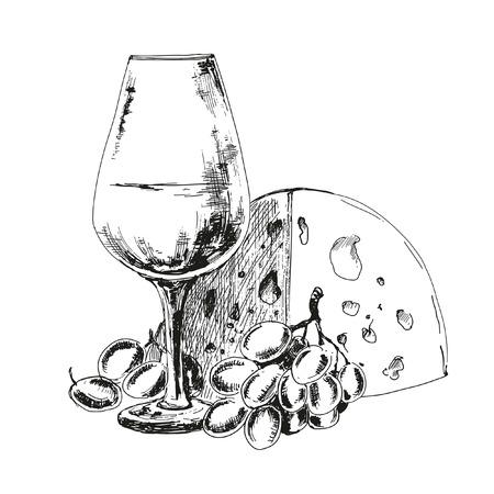 Wijnglas met kaas en druiven. Hand getrokken illustratie