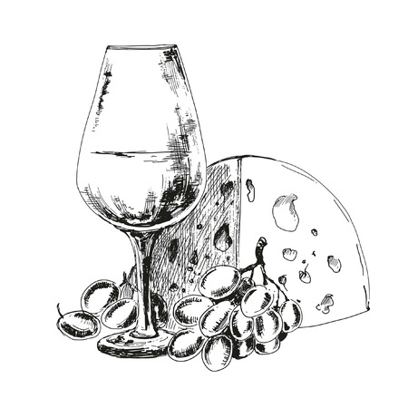 wine and cheese: Wine glass with cheese  and grapes. Hand drawn illustration