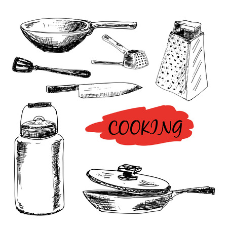 Set of kitchen utensils. Hand drawn illustrations Illustration