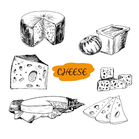 swiss culture: Cheese. Set of hand drawn graphic illustrations