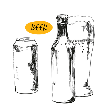 Glass of beer, beer bottles and cans  Hand drawn illustration