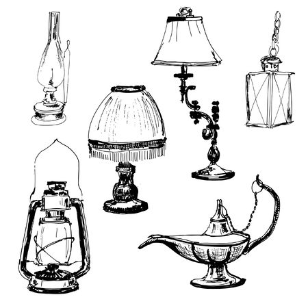 kerosene lamp: Set of lamps  Yand drawn graphic illustrations Illustration