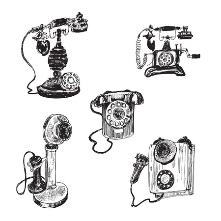 call me: Old vintage telephone  Set of hand drawn illustrations