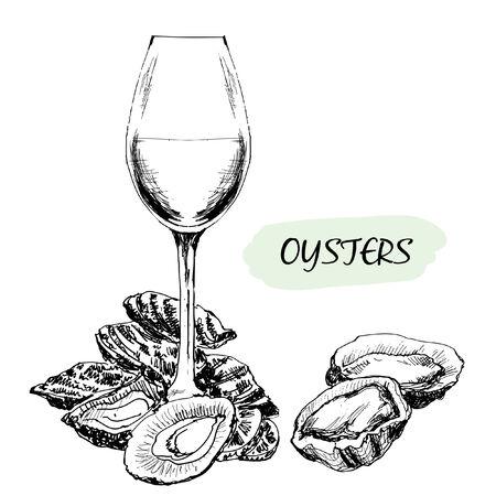 牡蠣とワイングラス手描き下ろしイラスト