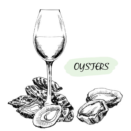 Oysters and wine glass  Hand drawn illustration Vettoriali