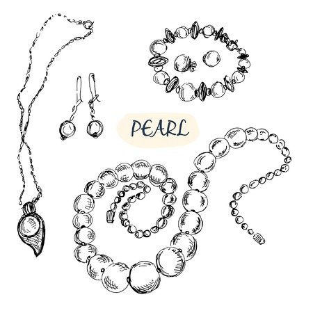 Pearl jewelry  Set of hand drawn illustrations