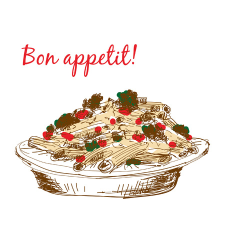 penne: Pasta. Bon appetit. Hand drawn color illustration