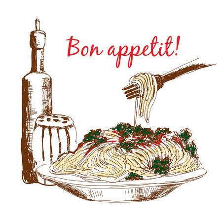 legumbres secas: Pasta. Bon appetit. Dibujado a mano ilustración en color
