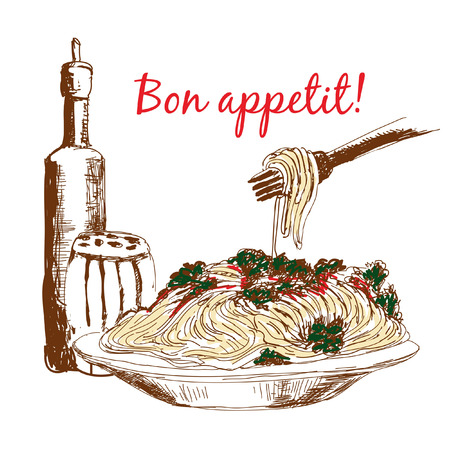 bolognese: Pasta. Bon appetit. Hand drawn color illustration