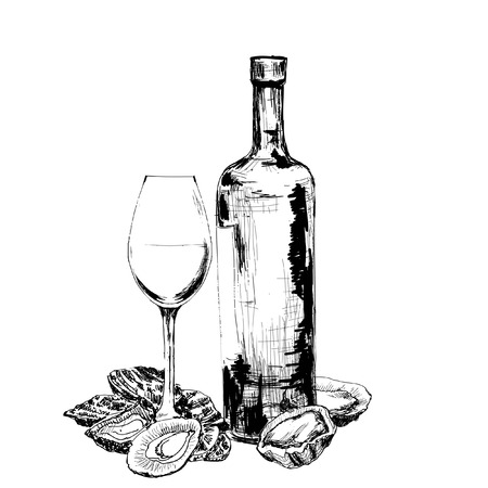 Bottle of wine, oysters and glass. Hand drawn illustration Vector