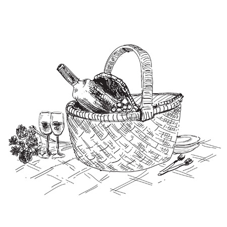 picnic basket: Picnic basket with wine and glasses. Hand drawn illustration