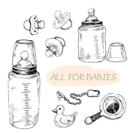 pacifier: Todo para los bebés. Conjunto de ilustraciones dibujadas a mano