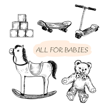 All for babies. Set of hand drawn illustrations Vector