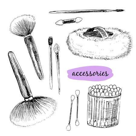 makeup brush: Makaup brushes and accessories  Hand drawn illustration Illustration
