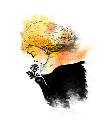 Woman with a rose  Hand drawn watercolor illustration illustration