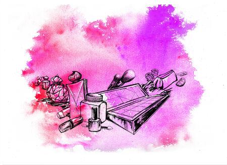 Cosmetics  Hand drawn watercolor illustration illustration